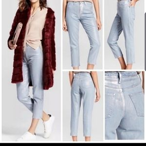 Nwt mossimo target silver wash mom jeans size 4